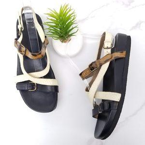 ANYI LU Womens Wedge Sandals Snake Print Straps